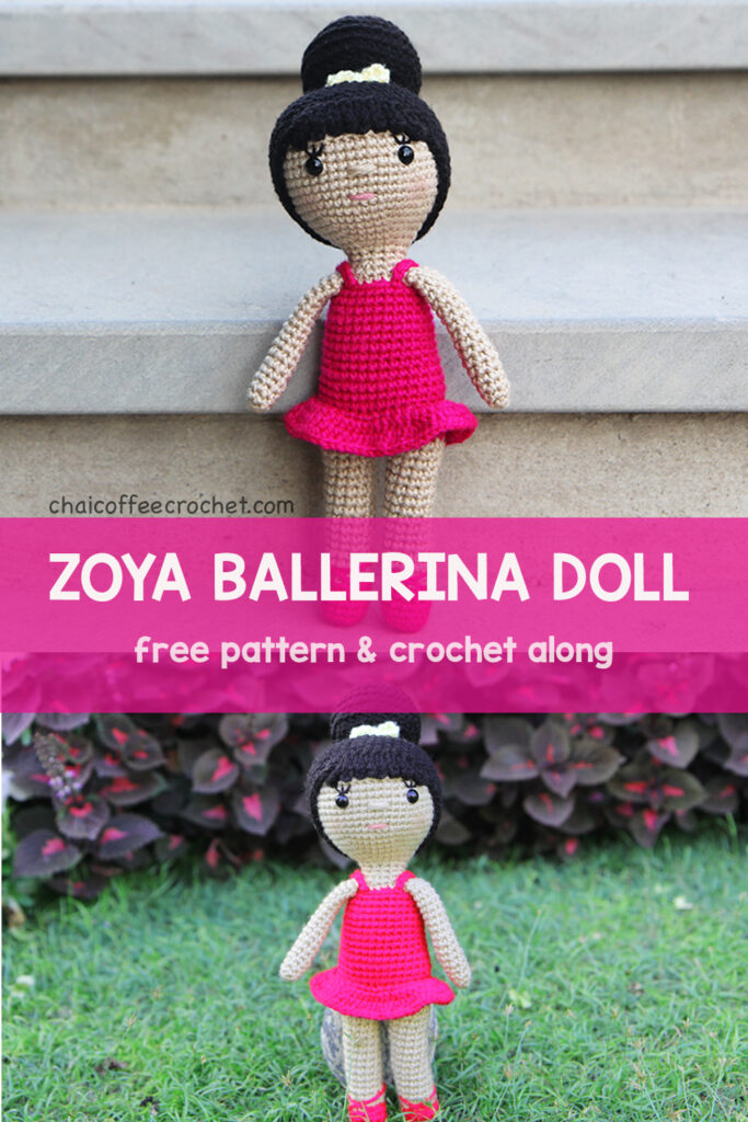 Ballerina crochet doll in a pink dress with pink ballet shoes and a hair bun with a lemon yellow ribbon.