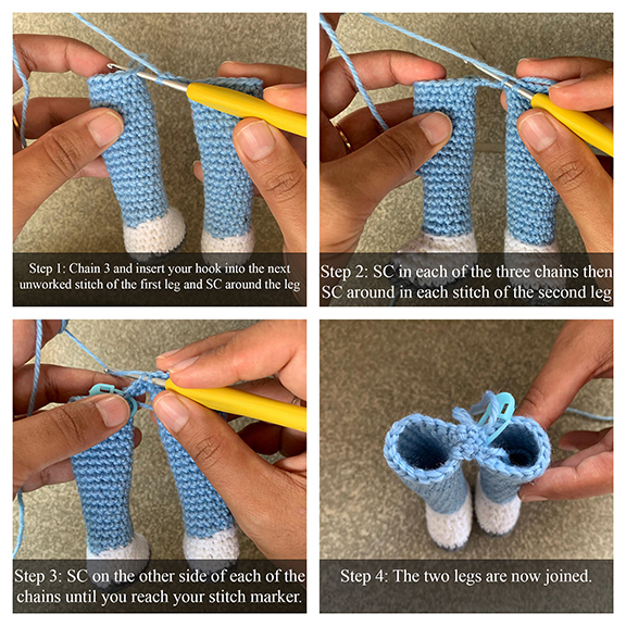 photo illustration of how to join legs on your crochet doll